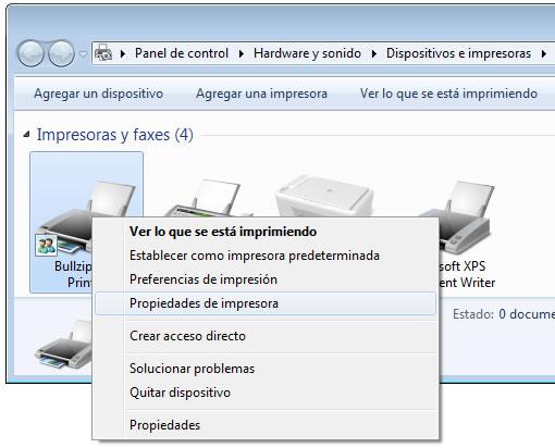 configurar una impressora PDF externa: propietats impressora