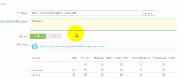 activar servei web  de PrestaShop 2 obtenir clau