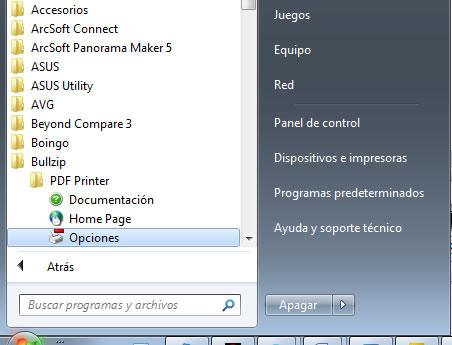 configurar una impressora PDF externa: opcions