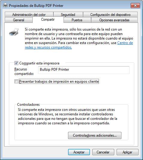 configurar una impressora PDF externa: compartir impressora